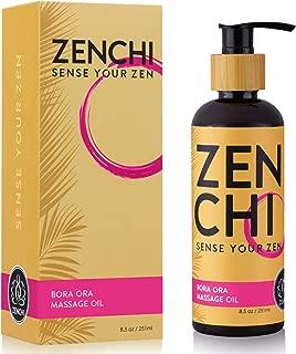 ZenChi Bora Ora Massage Oil w/Aromatherapy Essential Oils Rose, Cedar Wood, Bergamot, Black Pepper, Clary Sage, Rosewood, Spearmint, Patchouli — Gift Box & Pump Included (8.5 oz)