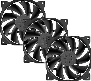 upHere 120mm Ventilateur pour Boîtier PC D'ordinateur Ultra Silencieux, 3 Pack- Noir (12BK3-3)