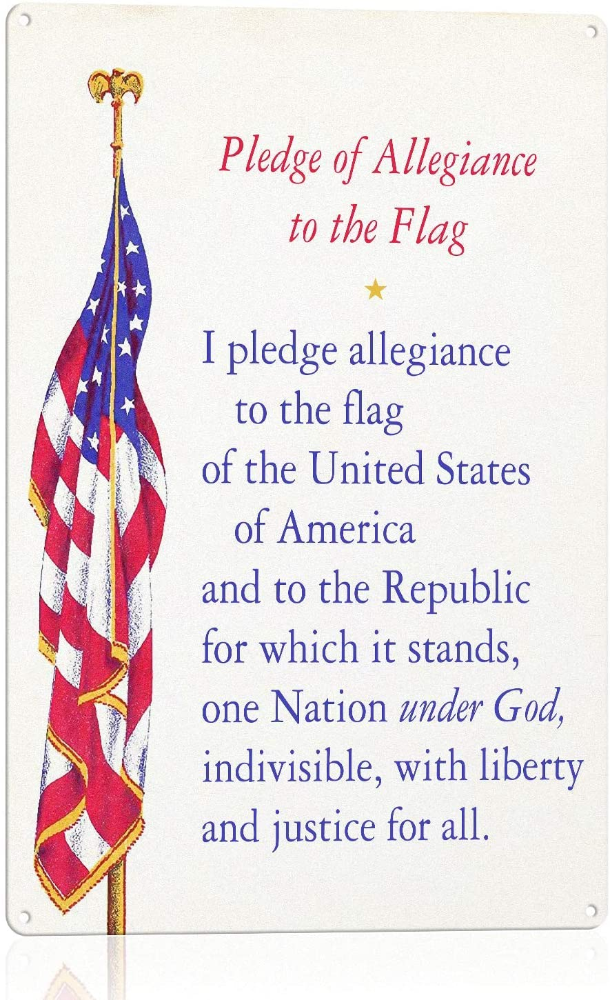 N\C 100% quality warranty The Pledge of Allegiance with USA Flag- Spasm price x Wal 8 12 Patriotic