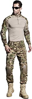 US Army Uniform Shirt Pants with Knee Pads Tactical Combat Airsoft Hunting Apparel Camo BDU