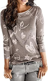 2018 Women's Long Sleeve Tops Letter Printed Shirt Casual Blouse Loose Cotton T-Shirt by