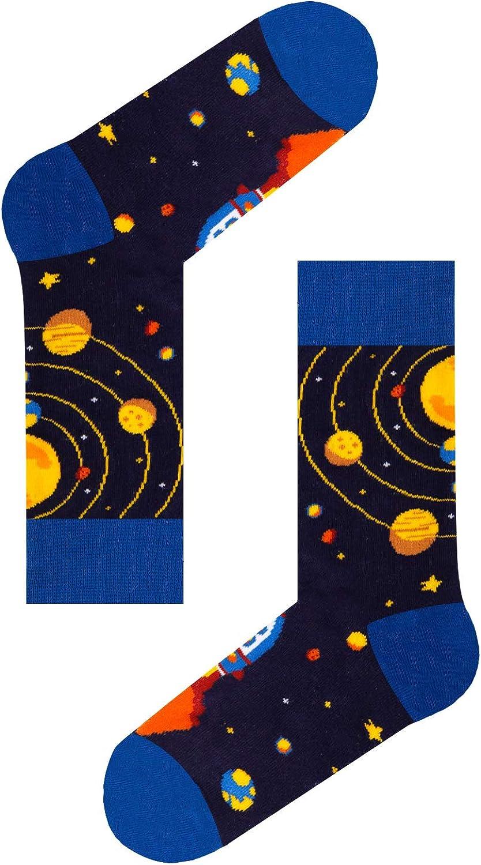 HAPPYPOP Boys Socks Novelty Crazy Shark Socks Space Socks Food Dinosaur Sloth Animals Socks for Kids Gift Box 4-10 Years