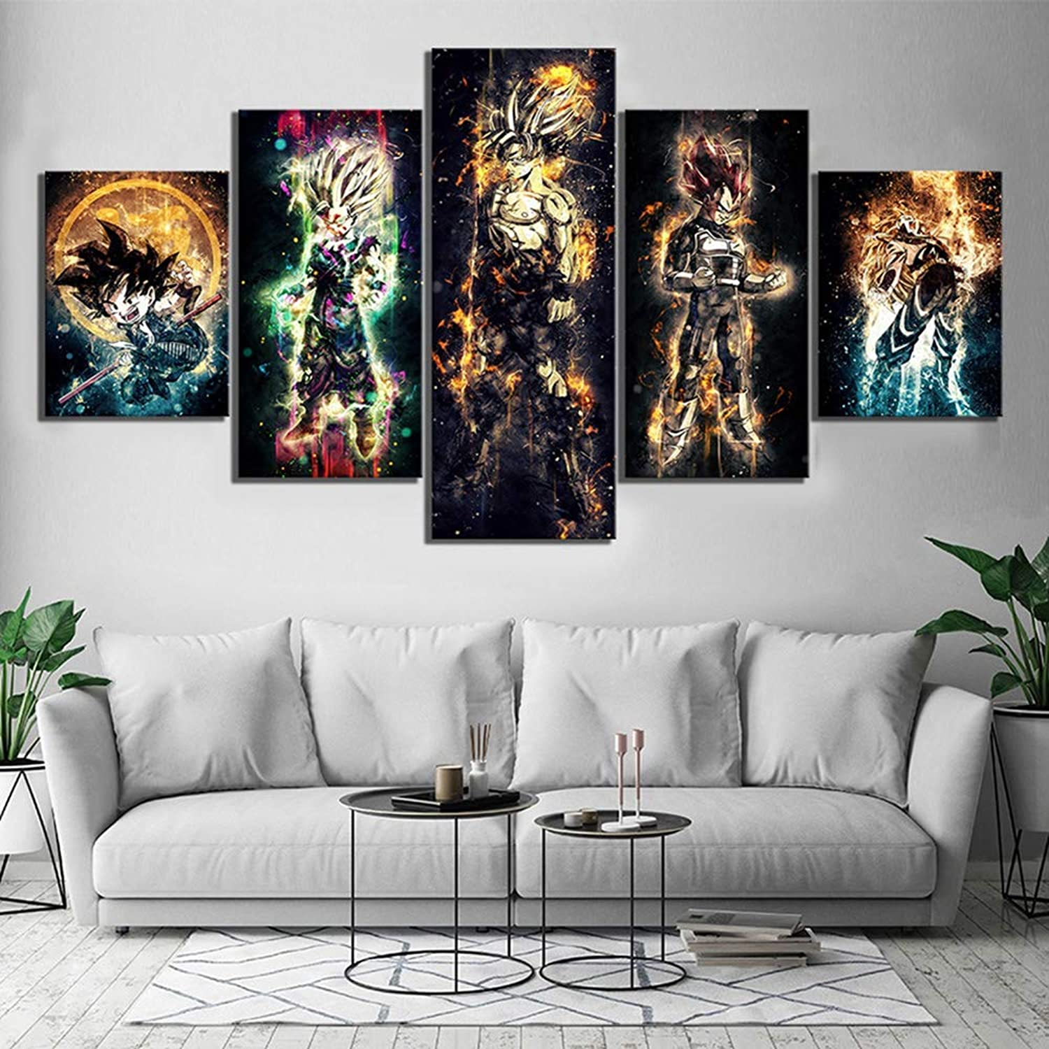 HD Prints Wall Art Canvas Paintings 5 Panel Dragon Ball Pictures Home Decoration Animation Poster for Living Room