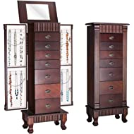 Giantex Jewelry Armoire Chest Cabinet Organizer, Wood Bedroom Furniture with 1 Makeup Mirror Lid...