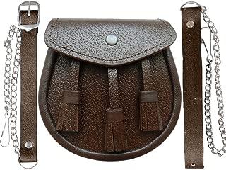 Kilt semi-dress Sporran Chardon Crest Noir Fourrure de Lapin /& Cuir écossais homme