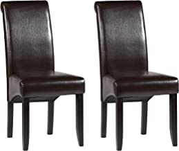MILAN Roxanne Rolled Back Parson Chair, Brown, Set of 2