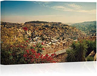 Panoramic View of Old City Jerusalem Canvas Prints Wall Art,Israel Painting Wall Art Picture Print on Canvas,16