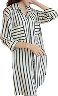 f76a918fafbd ZANZEA Women's Turndown Collar Loose Striped Long Tops Blouse Shirt Dress