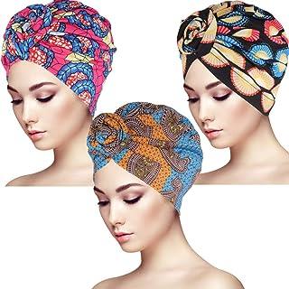 BKpearl 3 Packs Women Turban, African Pattern Knot Sleep Hat Headwrap Beanie Pre-Tied Bonnet Chemo Cap Hair Loss Hat (Style 1)
