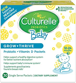 Culturelle Baby Grow + Thrive Probiotics + Vitamin D Packets | Supplements Good Bacteria..