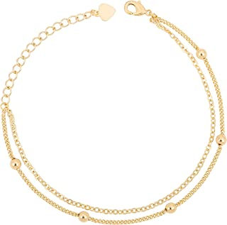 18K Gold Chain Bracelet Tiny Pearl Turquoise Link...