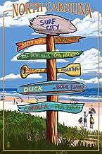 Surf City, North Carolina - Destination Signpost (9x12 Art Print, Wall Decor Travel Poster)