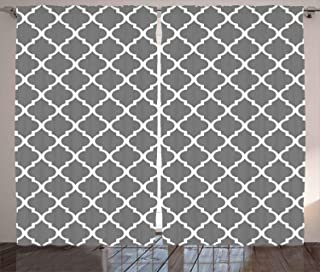 Ambesonne Grey Curtains, Quatrefoil Pattern Barbed Design Geometric Leaf Print Lattice Country Life Inspired, Living Room Bedroom Window Drapes 2 Panel Set, 108