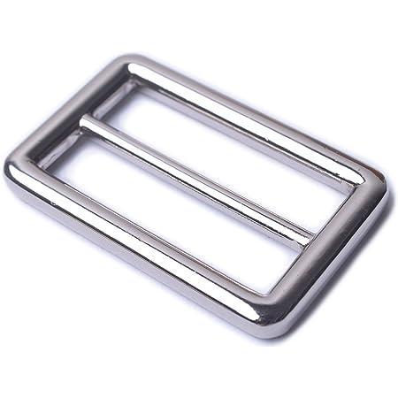 1 Inch, Silver Bobeey 5pcs 1 Silver Flat Metal Adjuster Sliders,Belt Sliders,Buckle Triglide for Strap Keeper Leathercraft Bag Belt Adjuster Sliders BBC9