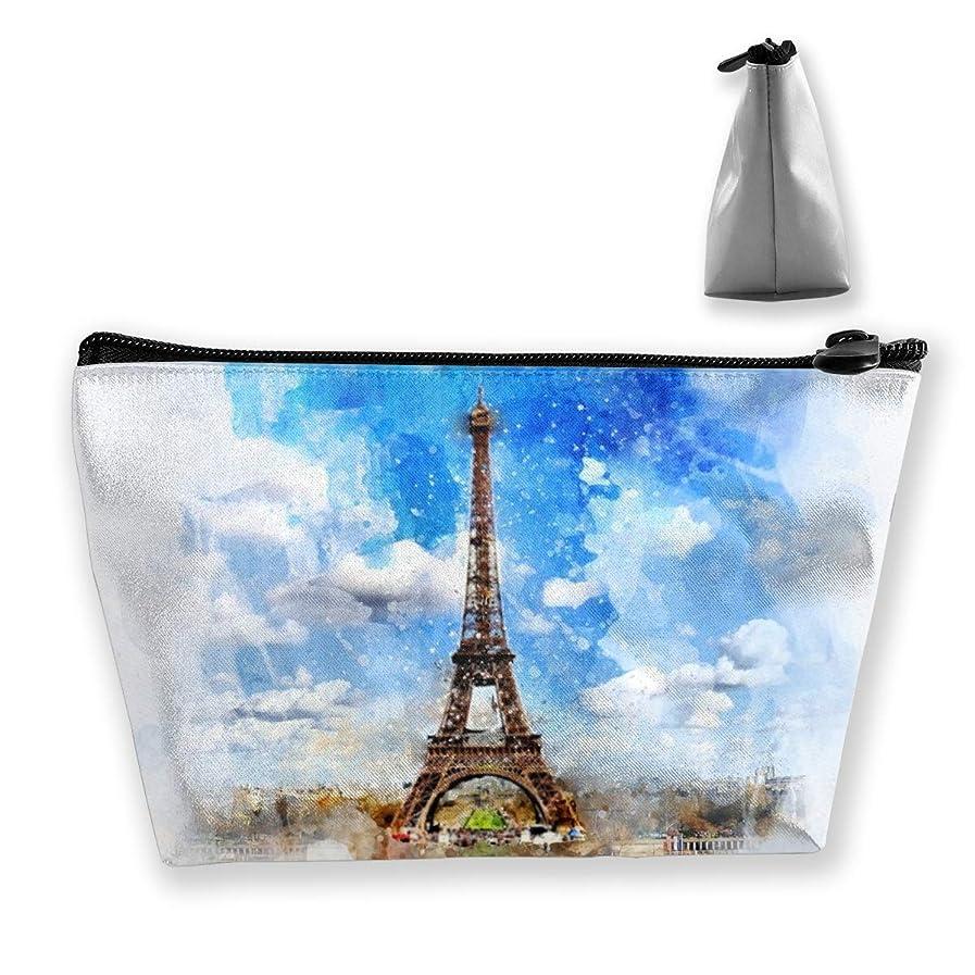肥沃なスプレートランクSzsgqkj 水彩画エッフェル塔 化粧品袋の携帯用旅行構造の袋の洗面用品の主催者
