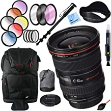 Canon EF 17-40mm F/4 L USM Lens Bundle with 77mm Filter Sets, Monopod with Case, Backpack and Accessories (3 Items)