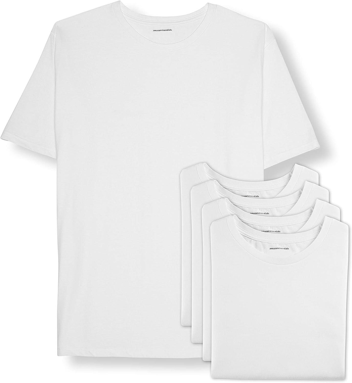 Amazon Essentials Men's Big & Tall 5-Pack Crewneck Undershirts fit by DXL