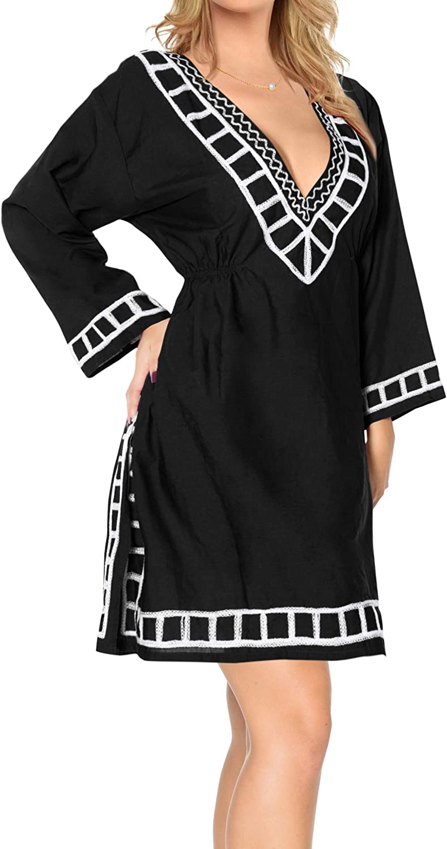 LA LEELA Women's Embroidered Swimwear Coverups Bathing Suit Loose Summer Dress C
