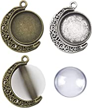 30pcs Kit Fit 25mm Moon Rotation Double Side Round Blank Bezel Pendant Trays Base Cabochon Settings Trays Pendant Blanks Jewelry Making DIY Findings 10Pcs Pendant Tray with 20Pcs Glass M235