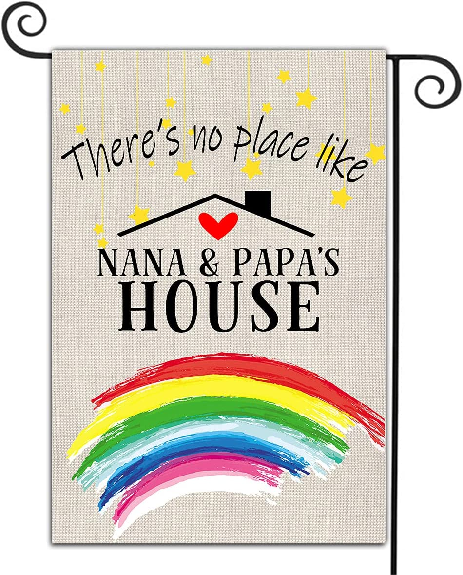 Welcome Garden Flags Yard Lawn Double Sided Home Decor Summer Yard Flag There's No Place Like Nana&Papa's House Porch Patio Backyard Outdoor House Flag Holiday Patriotic Burlap Flag 12.5 x 18 Inch
