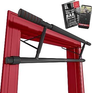 Räckhäv Stången INGEN Skruvar + Träning e-Bok, Pull Up Bar för hängning i dörröppningen hemma utan borrning   Dra Upp Dip ...