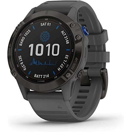 Garmin fenix 6 Pro Solar, Solar-Powered Multisport GPS Watch, Advanced Training Features and Data, Black with Slate Gray Band, Black with Slate Band