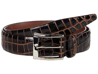 Torino Leather Co. 35 mm Italian Bicolor Croc Embossed Calf (Brown/Cognac) Men