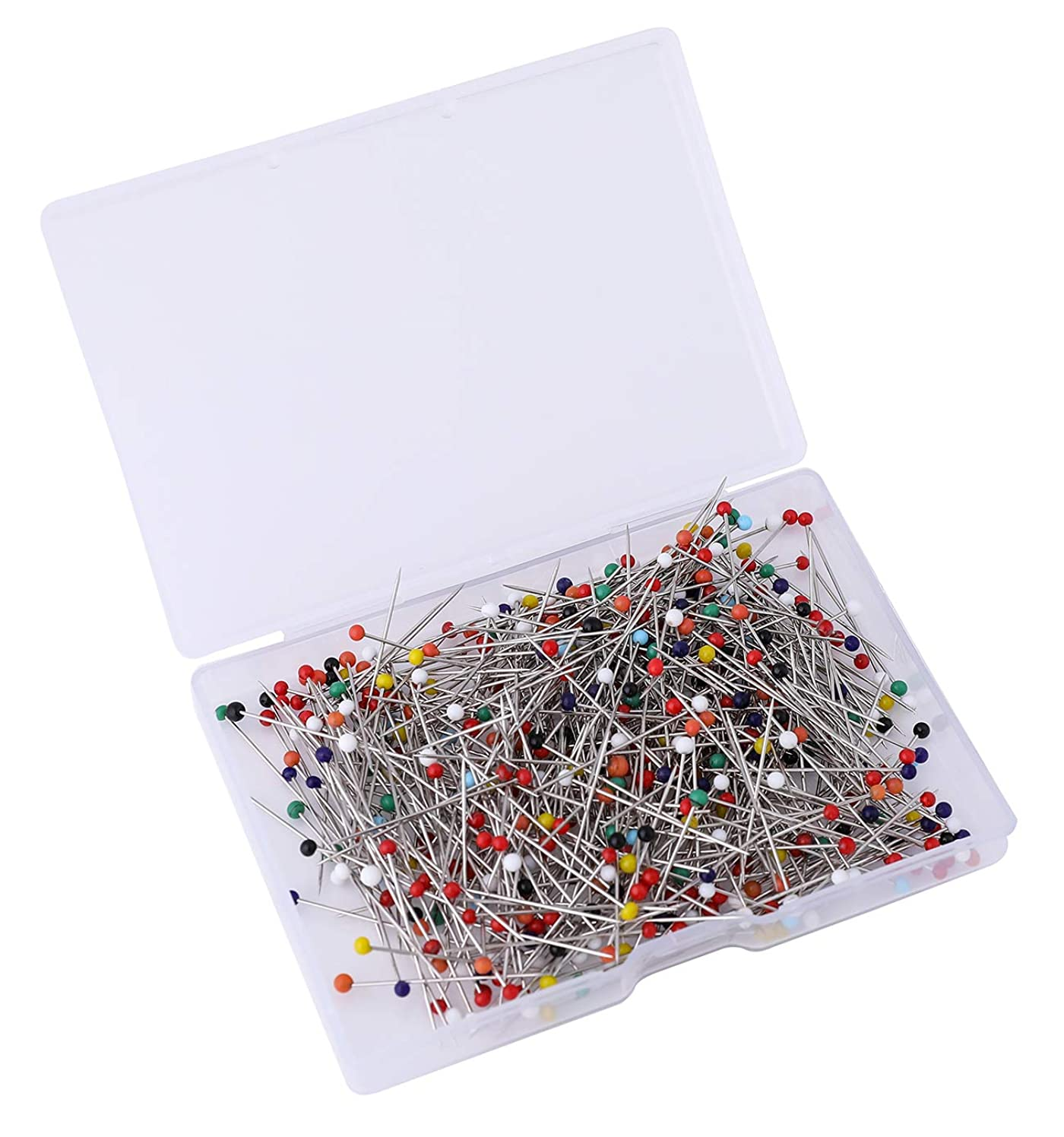Y&YUAN 1-1/4 Inch Color Sewing Pins Ball Glass Head Straight Quilting Pins (500 Pieces)