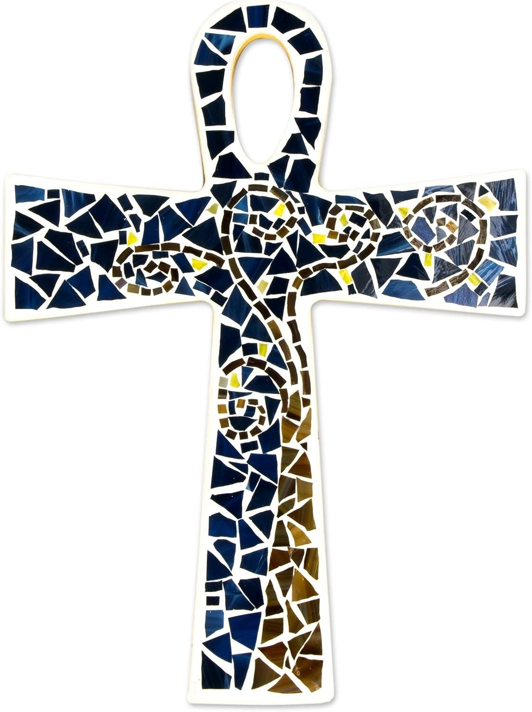 NOVICA 254055 Key to Eternity' Glass Mosaic ankh