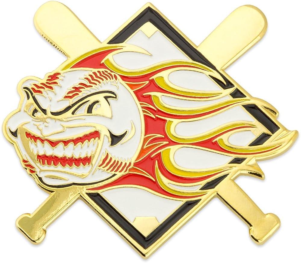 PinMart Baseball Flaming Ball Sports Trading Enamel Lapel Pin