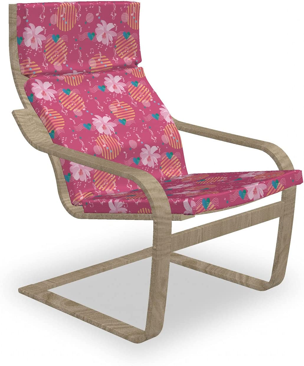 Ambesonne Abstract Max 42% OFF Armchair Cheap sale Pad and Cosmos Flowers Slipcover an