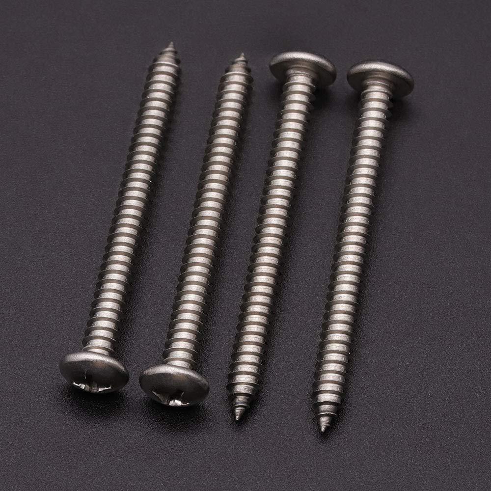 100 Pack #4 x 1//2 Stainless Steel 304 Stainless Steel Phillips Pan Head Wood Screws 18-8 Pan Head Sheet Metal Screws Self Tapping Screws
