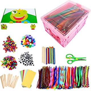 Kids Arts & CraftSupplies Kit for Age 4 5 6 7 8 9 year olds with Storage Box. DIY Arts Supplies Kit Craft Set Creative Ass...