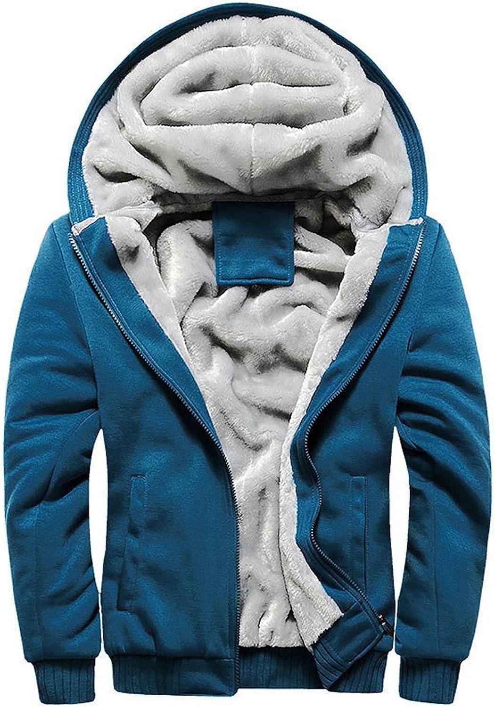 LEIYAN Mens Fuzzy Sherpa Hooded Jacket Zip Up Long Sleeve Fluffy Fleece Open Front Cardigan Wool Warm Thick Coats