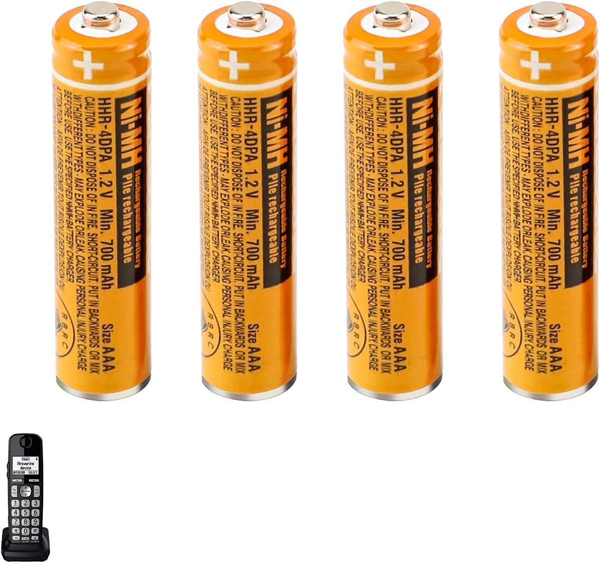 4PCS HHR-4DPA NI-MH AAA Rechargeable Batteries,1.2V 700mAh Battery for Panasonic Cordless Phone.