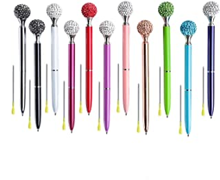 Diamond Ball Pen 11 Pieces Rhinestones Crystal Metal Ballpoint Pens Black Ink, 11 Different Colors + 11Pcs 3.2'' Ballpoint Pen Refills (Diamond Ball Pen)