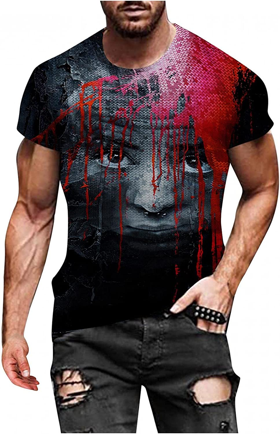 JSPOYOU Mens 3D Graphics Short Sleeve T-Shirts Halloween Funny Pumpkin Skull Printed Blouse Top Slim Fit Muscle Workout Tee