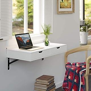 Homfa Mesa de Pared Estante de Pared con 2 Cajones Mesa de Ordenador Escritorio para Oficina Dormitorio Estudio Blanco 80x...