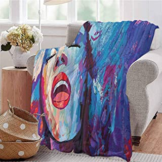 Luoiaax Jazz Music Bedding Microfiber Blanket Illustration of Singer on Grunge Background Performing Singing Woman Image Super Soft and Comfortable Luxury Bed Blanket W70 x L70 Inch Blue Purple Red