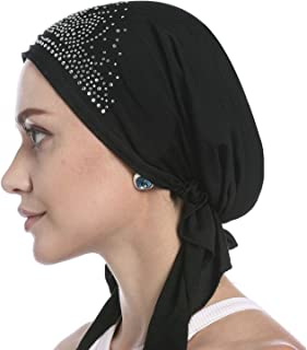 Simoda Women Elastic Big Flower Chemo Beanie Cap Muslim Ruffle Cancer Head Wrap