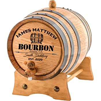 Personalized - Custom American White Oak Bourbon Aging Barrel - Oak Barrel Aged (2 Liters, Black Hoops)