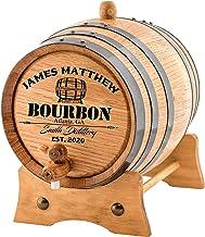 Personalized - Custom American White Oak Bourbon Aging Barrel - Oak Barrel Aged (2 Liters, Black Hoops)