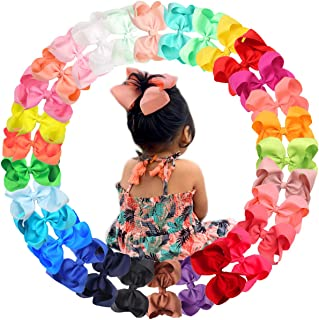 """30 Colors 6 Inch Bows for Baby Girls Big Grosgrain Girls 6"""" Hair Bows Alligator Clips For Teens Kids Toddlers"""