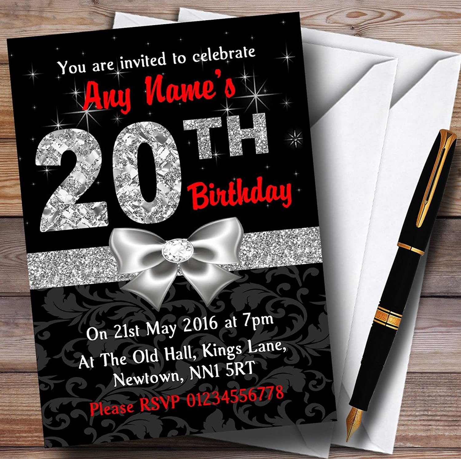 Red Black Silver Diamond 20Th 20Th 20Th Birthday Party Personalised
