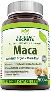 Herbal Secrets Maca 500 Mg 250 Veggie Capsules (Non-GMO) - Supports Reproductive Health, Mood, Hormonal Balance, Cardiovas...