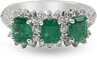 Three-Stone Emerald & Diamond Ring in 18K White Gold, 6.19GM, Sizes M-Q