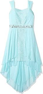 Girls' Big Sleeveless Lace Dress with High-Low Chiffon Overlay