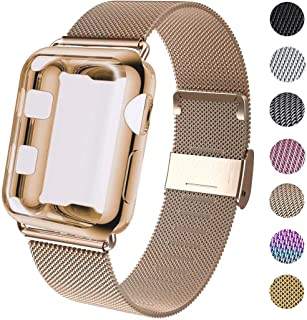 GBPOOT Compatible for Apple Watch Band 38mm 40mm 42mm 44mm with Screen Protector Case, Sports Wristband Strap Replacement Band with Protective Case for Iwatch Series 6/SE/5/4/3/2/1,38mm,Gold