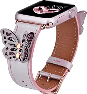 V-MORO Leather Band Compatible with Apple Watch Bands 38mm/40mm Women Fashion Butterfly iWatch Series 4/3/2/1 Strap with Rose Gold Stainless Steel Buckle Girls (Rose Gold,38/40)