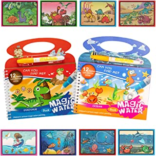 2PCS Water Painting Colouring Books for Children,Dinosaur and Underwater World Magical Reusable Water Painting Crafts Book...